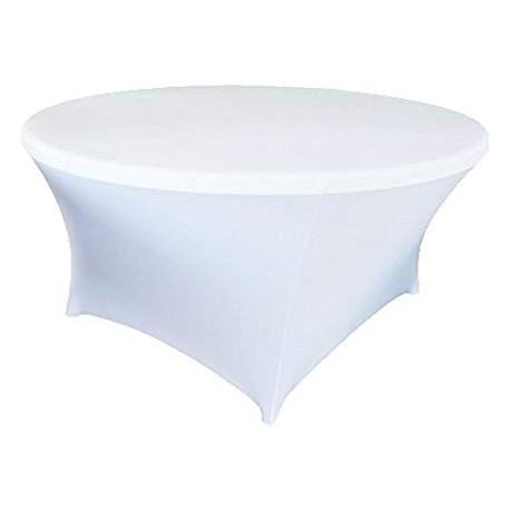 Housse de table blanche pour table ronde 150D