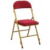 Chaise pliante métal/velours rouge